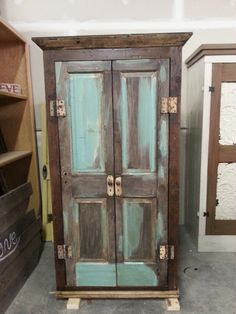 Custom Armoire Made With Reclaimed Wood And Doors #turquoise