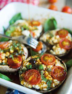 5 min portobello's - In Love With Health Vegetarian Side Dishes, Vegetarian Recipes, Healthy Recipes, Weigt Watchers, Good Food, Yummy Food, English Food, Light Recipes, Paleo Dinner