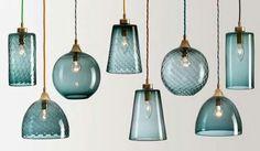 Blauw glazen lampen