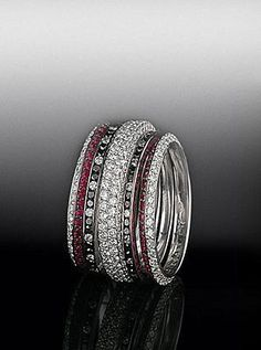 Mix and match your bands!  Ruby, diamond and black diamond bands shown.  All by Bez Ambar.