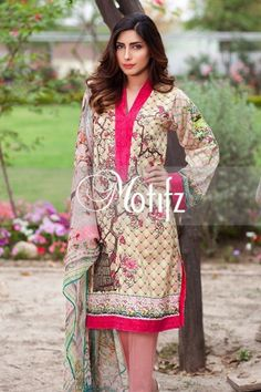 Shirt: Fabric: Digital Printed Shirt with Sleeves, Embroidered Patches Shalwar/Trousers: Fabric: Pure Cotton Trouser. Dupatta: Fabric: Digital Printed Crinkle Chiffon Dupatta