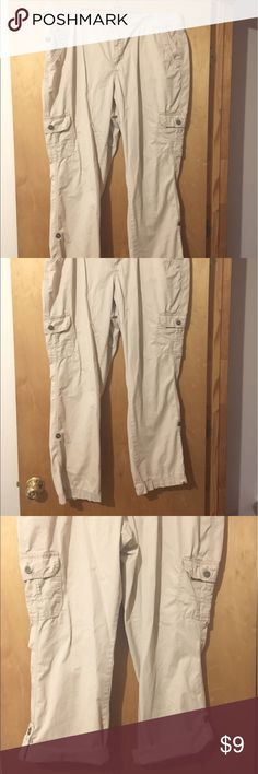 Women's Cargo Pants/Capris These great pants can be worn long or rolled up and buttoned for capris. Inseam rolled is 26. Inseam unrolled is 31 St. John's Bay Pants
