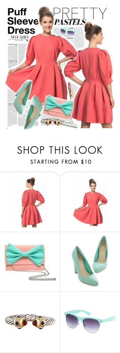 """Red Round Collar Puff Sleeve Dress"" by msfairy ❤ liked on Polyvore featuring David Yurman, Full Tilt and msfairy"