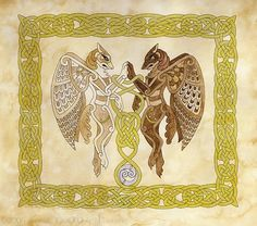 A mixed media piece done with gold and silver pigment inks for the knotwork and the other decoration, and normal pigment inks for the two winged anthro wolves