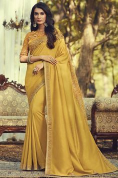 Online Shopping of Party Style Art Silk Fabric Trendy Saree With Embroidered Blouse In Yellow Color from SareesBazaar, leading online ethnic clothing store offering latest collection of sarees, salwar suits, lehengas & kurtis Party Wear Sarees Online, Net Blouses, Plain Saree, Trendy Sarees, Designer Sarees Online, Party Wear Dresses, Bridal Dresses, Art Silk Sarees, Bollywood Saree