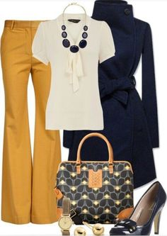Yellow pants, a white shirt, navy coat, and a statement necklace. Hello, chic! (Inspired by Olivia Pope on Scandal)