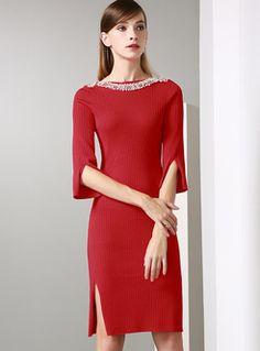 1e475c7c1484 Red Slim Split Beaded Knitted Dress