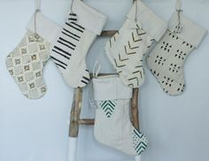 Mudcloth Christmas Stocking with Name tag by ONEAFFIRMATION