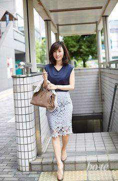 清楚&上品に着こなしたレーススカートのオンコーデ8 Business Casual Outfits, Office Outfits, Business Fashion, Work Outfits, Asian Fashion, Love Fashion, Womens Fashion, Japanese Beauty, Asian Beauty