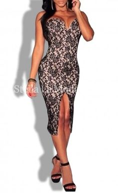 Black Lace Strapless Padded Knee Length Evening Dress