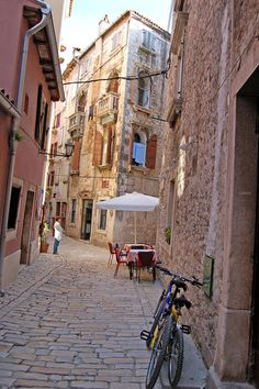 Cobblestone Street in Rovinj, Croatia