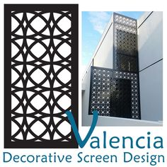 QAQ's laser cut decorative screen known as 'Valencia' is a beautifully modern, intersecting and overlapping circular pattern. This design has a su. Valencia, Decorative Screen Panels, Laser Cut Screens, Patio Wall, Perforated Metal, Outdoor Material, Circular Pattern, Screen Design, Store Displays
