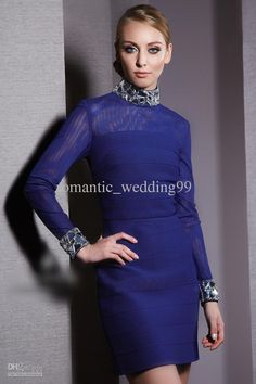 Wholesale Prom Dresses - Buy Charming Royal Blue High Collar Designer Prom Dress Long Sleeves Crystal Short Cocktail Pageant Gown, $113.64 | DHgate