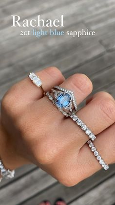 Our vintage-inspired Rachael is set here with a gorgeous two carat light blue oval sapphire at her center that we know will make your partner's heart melt. Width of band is approximately 1.8mm. #sapphire #sapphireengagementring #uniqueengagementring #diamondalternatives #alternativebride #alternativeengagementring #customengagementring #engagementringideas #engagementringideas #vintageengagementring #ringstack #ringinspo #ethicalengagementring #nycjeweler Stacked Engagement Ring, Vintage Inspired Engagement Rings, Alternative Engagement Rings, Gemstone Engagement Rings, Gemstone Rings, Light Blue Sapphire, Sapphire Stone, Bridal Rings, Wedding Rings