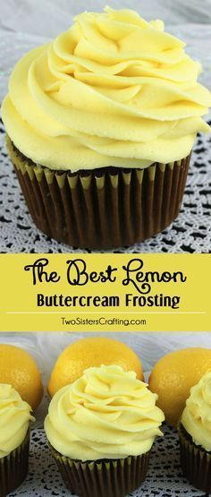 When life gives you lemons, make this delicious Best Lemon Buttercream Frosting. Bright, fresh, creamy and lemony. This is a traditional homemade lemon butter cream frosting that everyone will love. And it is so easy to make. This tasty frosting will mak Lemon Desserts, Lemon Recipes, Just Desserts, Baking Recipes, Sweet Recipes, Delicious Desserts, Dessert Recipes, Health Desserts, Delicious Cookies