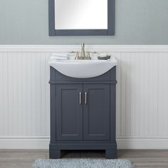 Winston Porter Guzman 24 Single Bathroom Vanity Set with Porcelain Sink Winston Porter Finish: Gray Bathroom Vanity Lighting, Single Bathroom Vanity, Bathroom Furniture, Trendy Bathroom, Bathroom Layout, Modern Bathroom, Small Bathroom Vanities, Bathroom Decor, Vanity Set