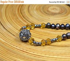 ON SALE Dark slate grey baroque pearl necklace  with yellow genuine citrine gem stones and ornate Bali silver filigree bead Office jewelry f