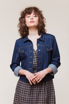 I'm kind of liking the idea of a white denim jacket... The Audrey jacket from Seamwork Magazine could be a good fit...