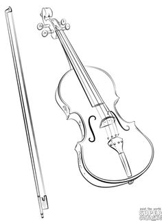 How to draw a violin and bow | Step by step Drawing tutorials