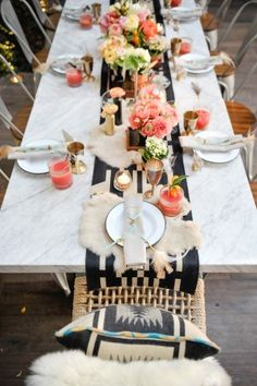 Boho Glam Foodie Wedding Table Styling/Coordination- Luxe Events Photography- Half Full Photography Florist- Isari Paper- Brightly Designed Venue- Puesto at the Headquarters Tabletop Rentals- Hostess Haven Fabric- Rais Case