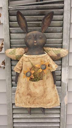 "Primitive Black Angel Rabbit "" Pocket full of Posies"" #BlackFolkArt"