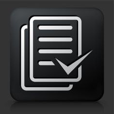 Black Square Button with Document Check Mark Icon vector art illustration