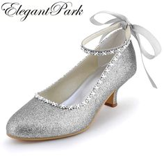 422a190da7f Click to Buy    Shoes Woman EP31010 Silver Closed Toe Low Heel Rhinestones