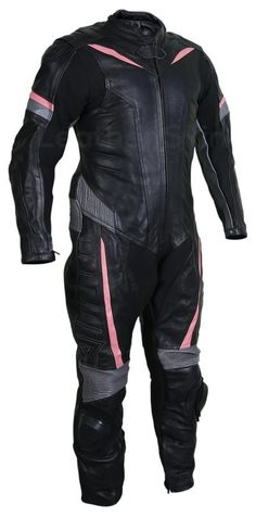 Men Black Motorcycle Leather Suit with Gray and Pink Stripes Best Leather Jackets, Men's Leather Jacket, Leather Skin, Black Leather, Pink Motorcycle, Motorcycle Leather, Steampunk Motorcycle, Motorcycle Jackets, Biker Leather
