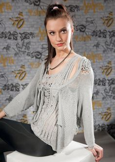 Dressy womens hand knit cardigan Fancy grey by CleopatraArt, €43.00