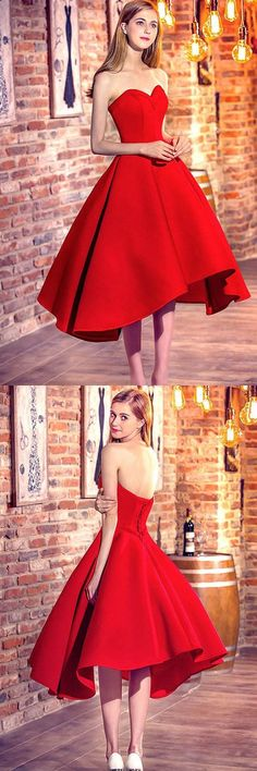 Princess Prom Dresses Red, Sweetheart Prom Dress 2018, Satin with Ruffles Asymmetrical Party Dresses High Low, Classic Formal Evening Gowns Modest