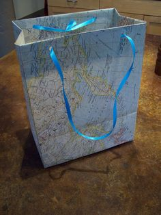Make your own Gift Bag ▲ out of a map, poster, anything really | offbeatbride