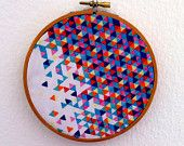 Abstract Wall Art - Fabric - 5 inch embroidery hoop - Hipster Railroad - Abstract Original Art on Fabric - Original Textile - Wall Hanging. $20.00, via Etsy.