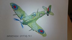 a water coloured spitfire on a birthday card