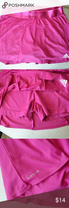 "Adidas ClimaCool Skirt Hot pink workout skirt with built in shorts in great condition!  Waist laid flat 14.5"" across, length 12"".  Super soft and comfortable.  100% polyester adidas Skirts Mini"