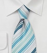 Designer Silk Tie in Turquoise, Teal, and Silver