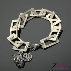 NEW,QUADRO,-,silver,bracelet,with,Swarovski,crystals,Silver Bracelet with Gemstone, Bracelet with Swarovski Crystals, Sterling Silver Jewell...