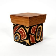 """Abstract Bentwood Box with Abalone Inlay by James Michels, Metis/Cree. Red and Yellow Cedar, 5"""" x 4 1/2"""" x 4 1/2"""", $700.00 Cad. Available at Lattimergallery.com. Native Art, Native American Art, Woodlands School, Arte Haida, Tlingit, Maori Art, Native Design, Bent Wood, Totem Poles"""