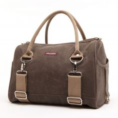 Logan Tote in Umber Waxed Canvas - perfect for bicyclists and yoga lovers!