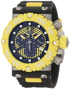 Invicta Mens 10038 Subaqua Nitro Diver Chronograph Watch with Yellow Bezel -- Want additional info? Click on the image.