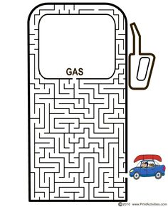 The car maze of a car ready to fill up with gas is a terrific printable maze for kids who love cars. Adhd Activities, Cub Scout Activities, Craft Activities For Kids, Kindergarten Activities, Hidden Pictures Printables, Mazes For Kids Printable, Voyage Usa, Maze Worksheet, Activity Sheets For Kids