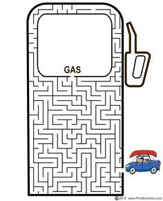 Car shaped maze from PrintActivities.com