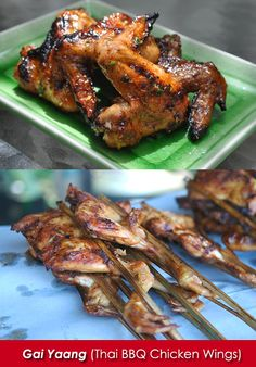 out Gai Yaang or Thai BBQ Chicken Wings with a sweet-and-spicy chili glaze for the next Superbowl game! Thai Bbq Chicken Recipe, Bbq Chicken Wings, Chicken Wing Recipes, Bbq Wings, Asian Chicken, Easy Delicious Recipes, Yummy Food, Beef Massaman, Laos Food