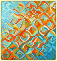 Ellin Larimer: Fiber Artist - Curvilinear and Counterpoint Series Late Summer Love the movement in this quilt Quilting Projects, Quilting Designs, Quilt Inspiration, Orange Quilt, Quilt Modernen, String Quilts, Textiles, Art Textile, Contemporary Quilts