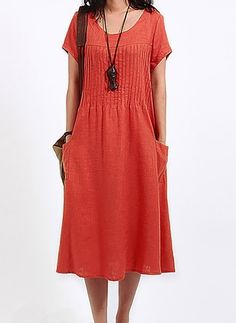 Solid Pockets Short Sleeve Midi Shift Dress - Red M Short Fitted Dress, Short Sleeve Dresses, Linen Shirt Dress, Linen Dresses, Cotton Dresses, Lace Dress, Cheap Dresses, Summer Dresses, Women's Dresses