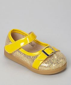 Look at this Sneak A' Roos Yellow Sparkle Squeaker Mary Jane on #zulily today!