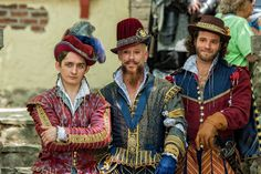 Men's Elizabethan/Renaissance doublets, slops, sleeves, and hats by T. Stacy.