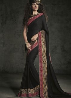 Black Embroidery Work Chiffon Designer Party Wear Sarees http://www.angelnx.com/Sarees/Party-Wear-Sarees