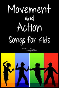 These are my tried and true best movement and action songs for children! They're a perfect solution to help children get their energy or wiggles out. Great for at home or in the classroom! Creative Activities For Kids, Gross Motor Activities, Indoor Activities For Kids, Music Activities, Kids Fun, Physical Activities, Action Songs For Children, Kids Songs With Actions, Preschool Songs