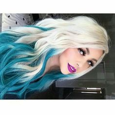 White and blue hair