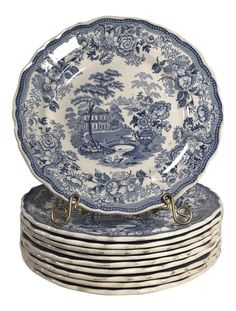 Antique Transferware Staffordshire Blue and White Plates - Set of 10 Antique Dishes, Antique Plates, Blue And White Dinnerware, Liberty Blue, Blue Pottery, Blue And White China, White Plates, Chinese Ceramics, Vintage China